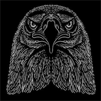 Dessin à La Main Tête D'aigle Vecteur Premium