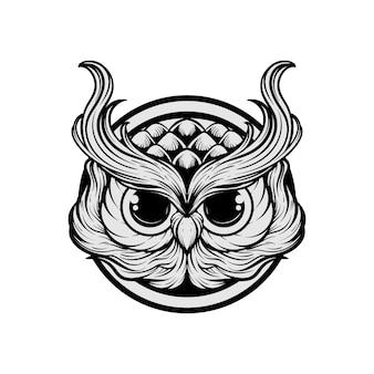 Dessin à la main tête de hibou illustration