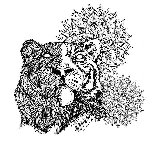 Dessin de main de tigre d'art de tatouage et croquis en noir et blanc avec illustration d'art de ligne