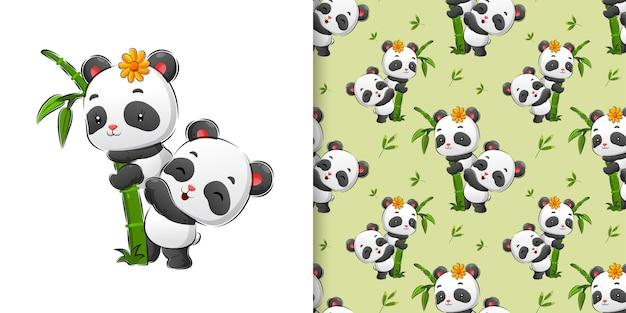 Dessin à la main transparente de panda mignon jouant sur le bambou dans l'illustration de la forêt