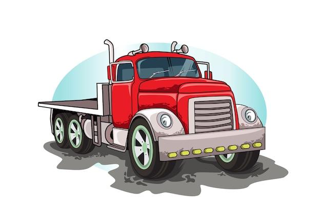 Dessin à la main de vecteur de gros camion classique rouge
