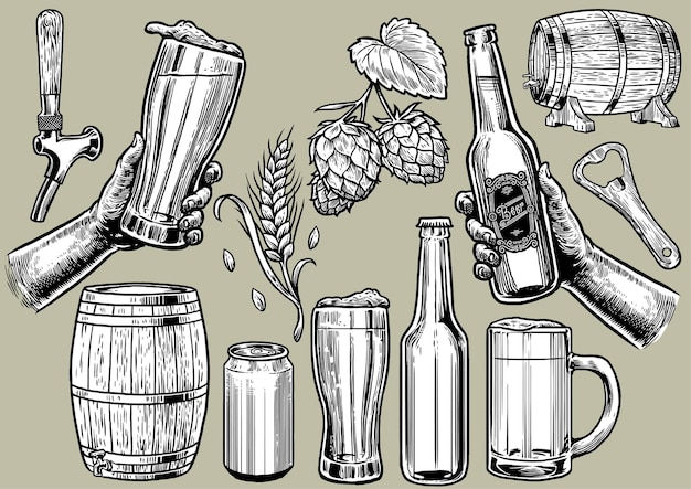 Dessin à la main vintage d'objets de bière dans l'ensemble