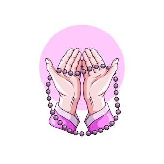 Dessin de mains en prière avec chapelet pour le ramadan islamique kareem