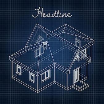 Dessin de la maison sur fond bleu.
