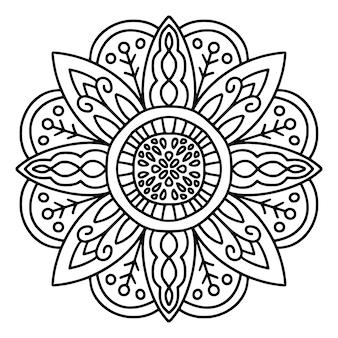 Dessin de mandala noir et blanc
