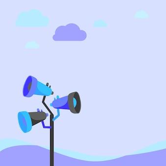 Dessin de mégaphones de poteau faisant une nouvelle annonce à un espace ouvert sous les nuages. haut-parleurs bullhorn dans un dessin de mât produisant une publicité tardive dans une zone défoliée.
