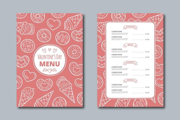Dessin avec le menu de la saint-valentin