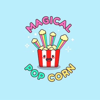 Dessin mignon de griffonnage de maïs pop magique kawaii
