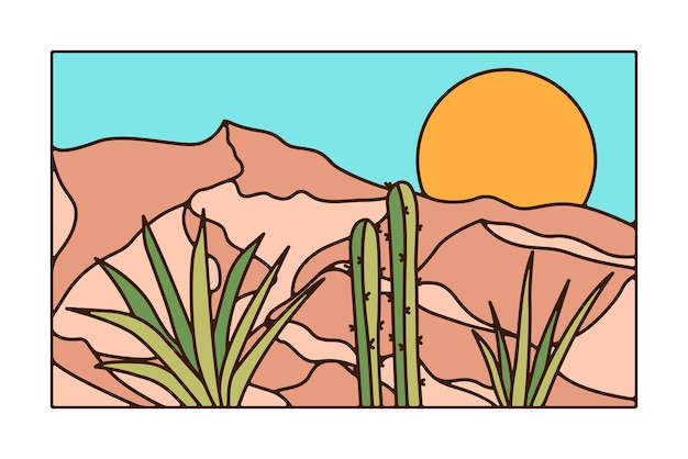 Dessin minimal de paysage désertique avec cactus