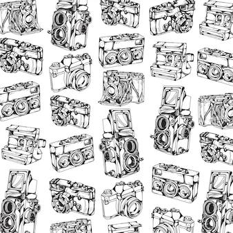 Dessin de modèle de caméra à la main et croquis en noir et blanc