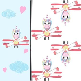 Dessin et modèle de licorne dans l'avion