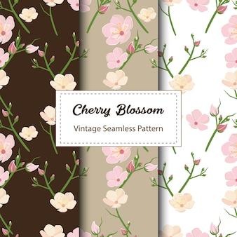 Dessin de modèle sans couture de fleur de cerisier en brun
