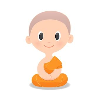 Dessin moine bouddhiste de l'asie du sud-est.
