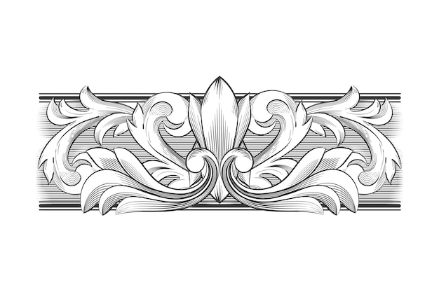 Dessin monochrome avec bordure ornementale