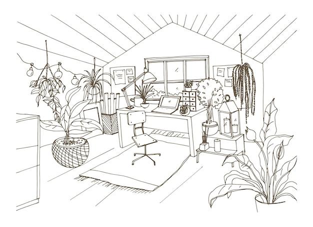 Dessin monochrome d'une chambre mansardée confortable meublée dans un style hygge scandinave moderne et décorée de guirlandes lumineuses, de bougies et de plantes en pot