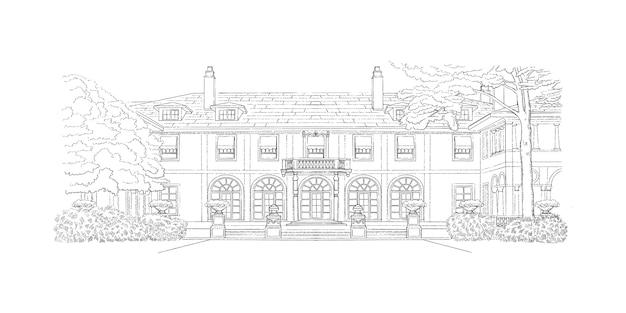 Dessin noir et blanc, architecture. illustration avec manoir de style