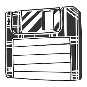 Dessin noir et blanc de disquette, isolé sur fond blanc.