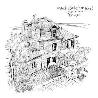 Dessin en noir et blanc, une maison traditionnelle bretonne à l'intérieur des murs du mont saint-michel, bretagne, france.