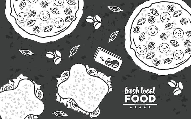 Dessin de nourriture locale fraîche