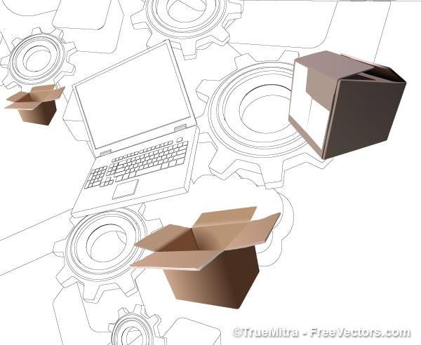 Dessin d'ordinateur portable avec des boîtes réaliste fond