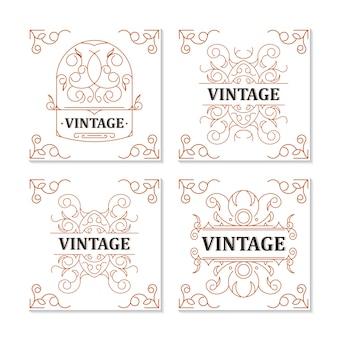 Dessin ornemental de cadre d'étiquette vintage