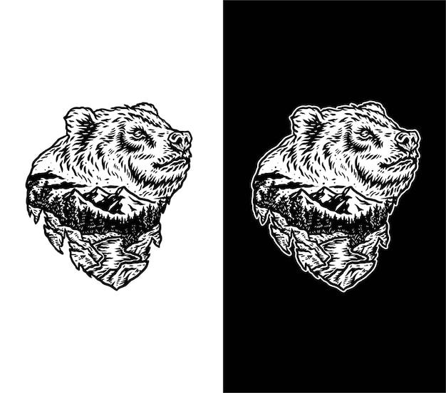 Dessin de paysage de forêt d'ours vectoriel, isolé sur fond sombre et lumineux