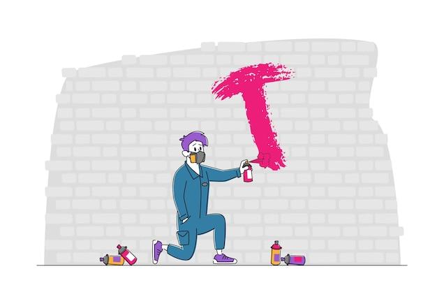 Dessin de personnage masculin avec cylindre de peinture sur le mur