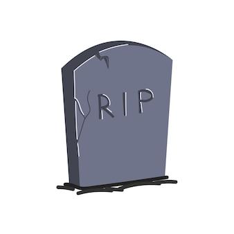 Dessin pierre tombale isolé monument gris sur la tombe de l'illustration vectorielle dessinée à la main de la pierre tombale de déchirure