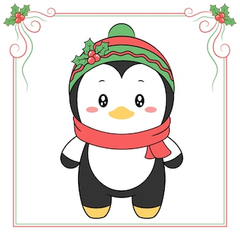 Dessin de pingouin mignon joyeux noël avec foulard rouge