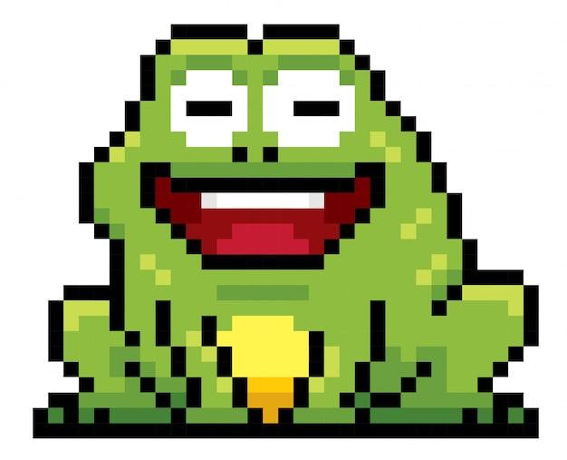 Dessin de pixel de grenouille de dessin animé