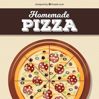 Dessin plat fond de pizza maison