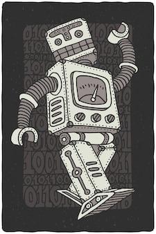 Dessin de robot de vecteur drôle