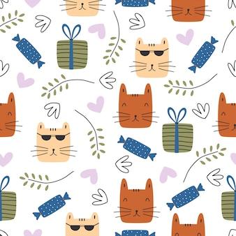 Dessin sans couture dessin enfantin avec des chats drôles