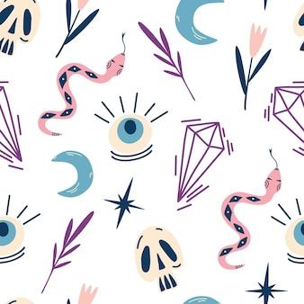 Dessin sans couture de sorcière magique crânes serpents yeux cristaux et feuillesmystique