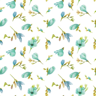 Dessin sans soudure de fleurs de freesia bleu aquarelle