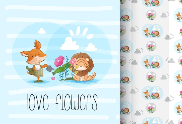 Dessin sans soudure de jolies petites fleurs lion mignon