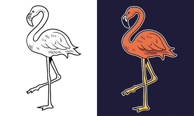 Dessin simple flamant rose beauté rose oiseau animal d'été. illustration de personnage de dessin animé impression t-shirt design autocollant patch élément tendance de la mode.