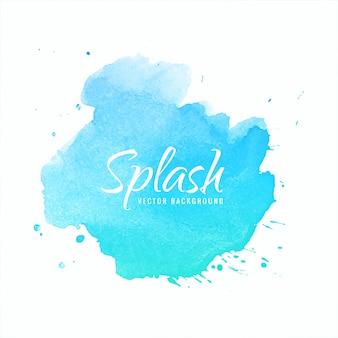 Dessin de splash de peinture à main aquarelle fond bleu