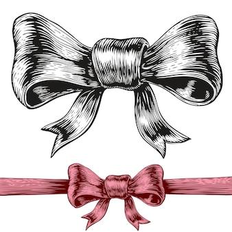 Un dessin de style gravure d'un arc.