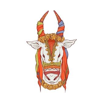Dessin de vache pongal. tête d'animal de dessin animé décorée pour la célébration du festival indien mattu pongal