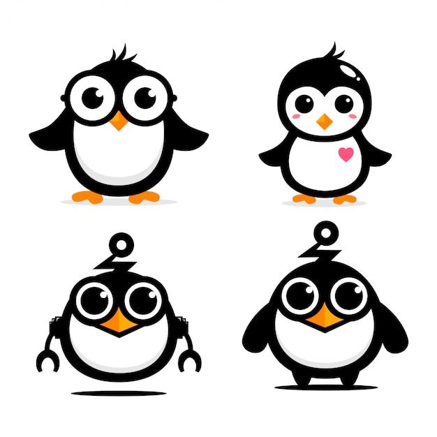 Dessin de vecteur de mascotte de pingouin mignon