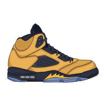 Dessin vectoriel de baskets jaunes