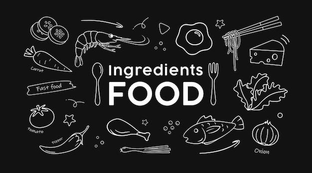 Dessin vectoriel ingrédients alimentaires noir et blanc sur fond noir illustration