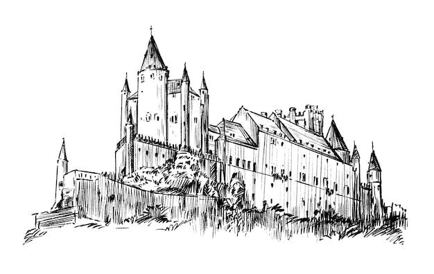 Dessin de la vieille église main dessiner