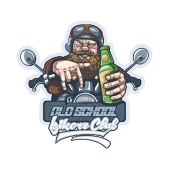 Dessin d'un vieux motard sur une moto avec une bouteille de bière à la main.
