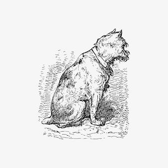 Dessin vintage de chien de compagnie