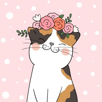 Dessine un chat avec une fleur de beauté sur la tête en pastel rose.