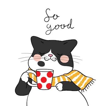 Dessine un chat noir avec une écharpe de beauté à l'heure du thé