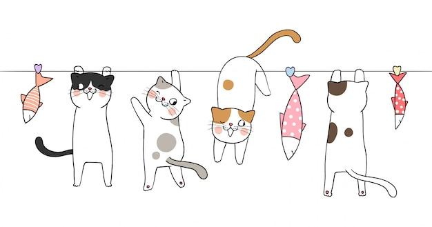 Dessine un chat avec un poisson adorable sur blanc.