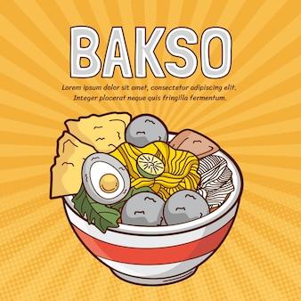 Dessiné de délicieux bakso dans un bol